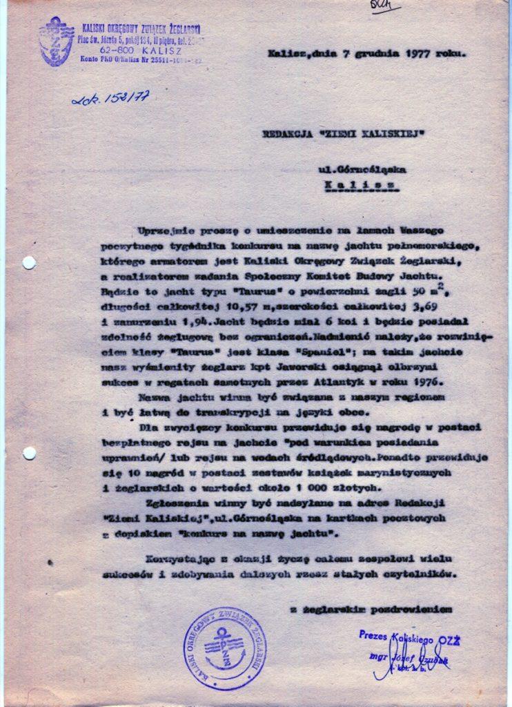 Pismo do redakcji Ziemi Kaliskiej z prośbą o ogłoszenie konkursu na nazwę jachtu.